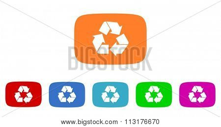 recycle flat design modern vector circle icons colorful set for web and mobile app isolated on white background