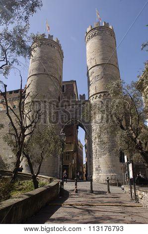 Porta Soprana ,porta Di Sant Andrew, In Genoa. Italy