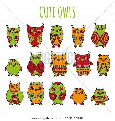 Set of bright cartoon owls and owlets