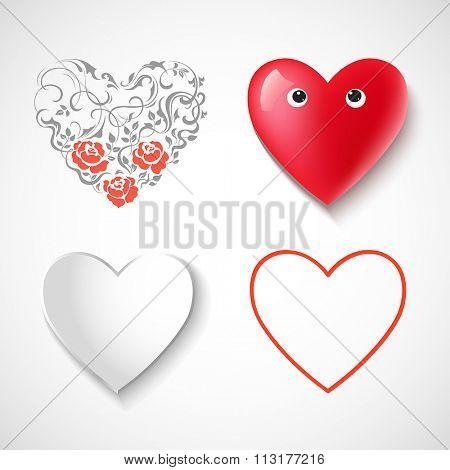 Heart shape design set. Vector illustration.