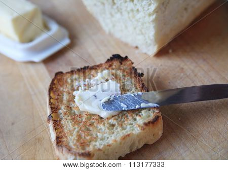 Toast spread with butter
