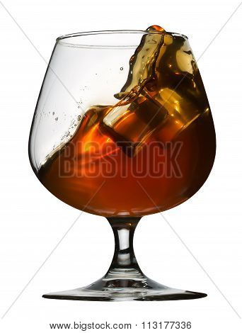 Glass Of Brandy Isolated On White Background