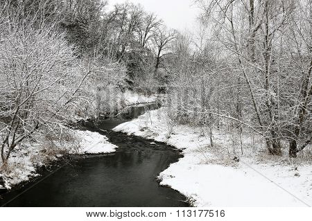 Small Winding Winter River And Snow Landscape