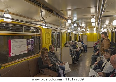 Interior Of Moscow Subway Carriage.