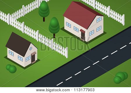Flat Isometric Suburb Houses With Lawns And Fences Near Road.