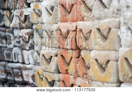 Earthenware brick wall background