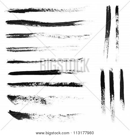 Set of 14 artistic mascara brush strokes