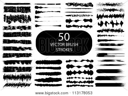 Set of 50 artistic vector brush strokes.