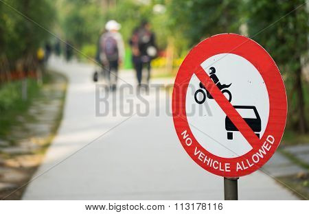 No motor vehicles, no car, no motorcycle