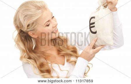 Woman With Euro Signed Bag