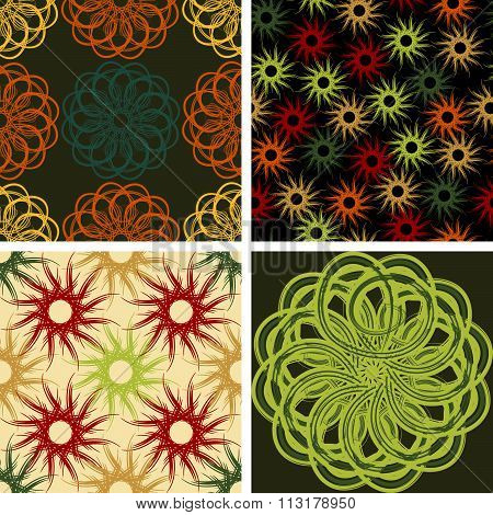 Four Abstract Seamless Vector Pattern