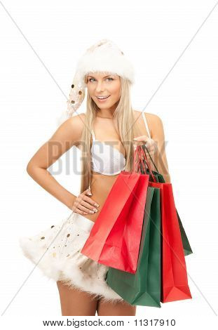 Cheerful Santa Helper With Shopping Bags