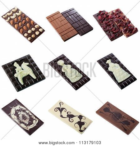 Collection of milk chocolate bar with pattern