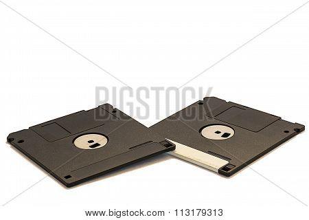 Floppy disks on a white background