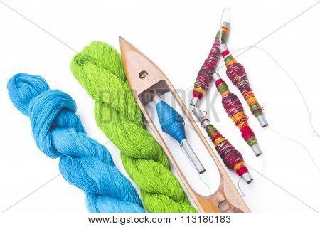 Spool Of Thread And Wooden Bobbin With Raw Thread ,accessory Of Cloth Weaving