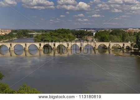 Roman Bridge, River Duero, Castilla Y Leon, Zamora,