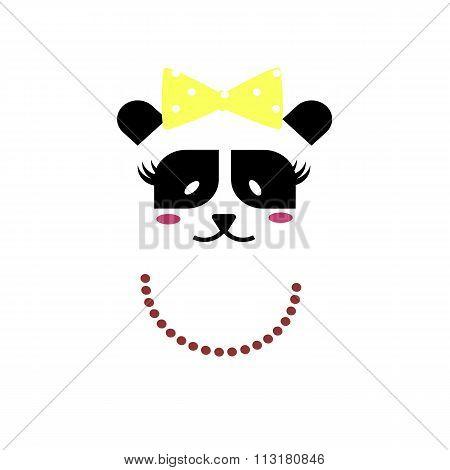 Panda Bear Lady. Vector icon