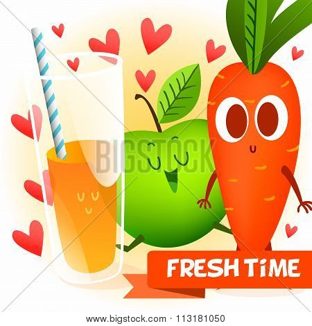 Illustration with funny characters. Love and hearts.  Funny food. time fresh. fresh carrot & apple.