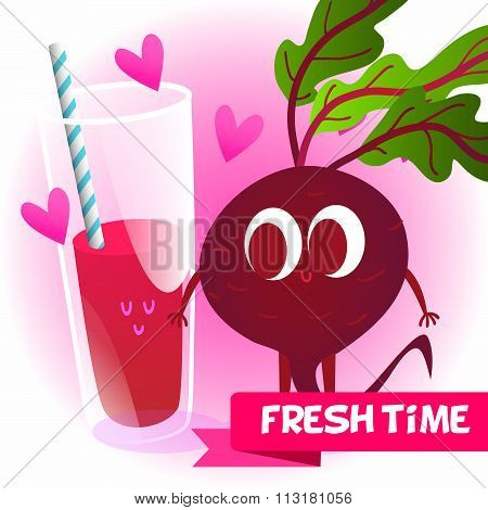 Illustration with funny characters. Love and hearts.  Funny food. time fresh. fresh beet. Healthy fo