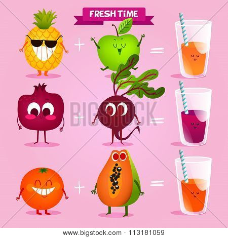 A set of cute fruit. Illustration with funny characters. Love and hearts. Funny food. time fresh. Va