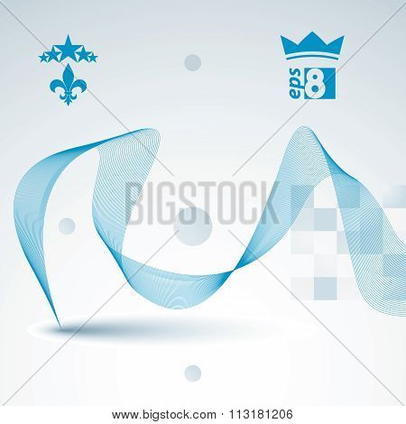 Elegant Flowing Lines Vector Background, Royal Design, Eps8. Romantic Refined Abstract Textile Backd