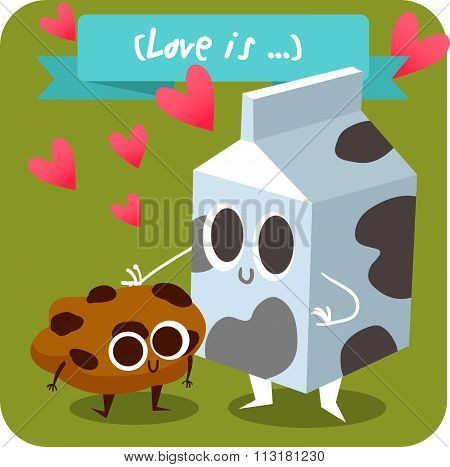 Postcard Valentine's Day. carton of milk  with pieces of cookies. Comic food. Illustration with funn