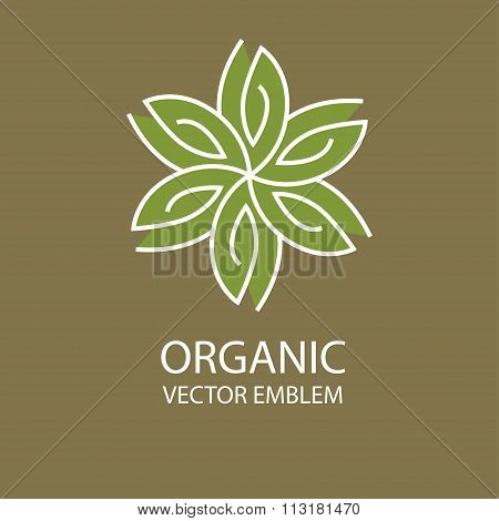 Vector abstract organic emblem, outline monogram, flower symbol