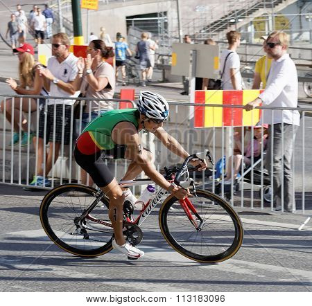 Side View Of Cycling Triathlon Athlete Juao Silva