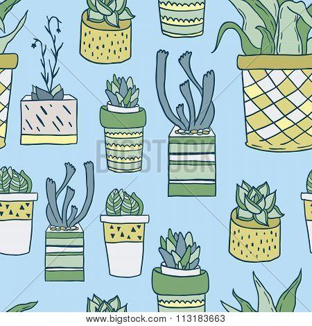 Cute hand drawn houseplants in pots. Seamless vector pattern.