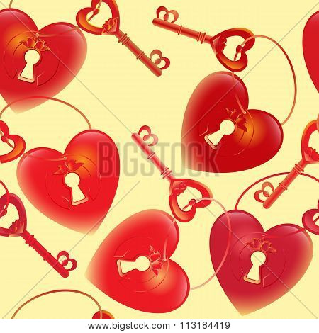 Vector  pattern with  key and heart keyhole.