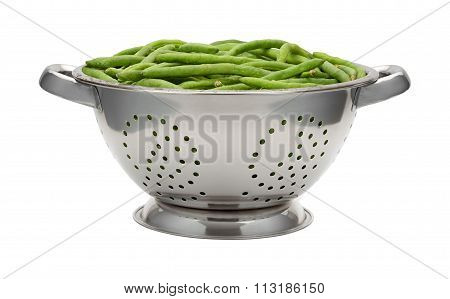Fresh Green Beans In A Stainless Steel Colander
