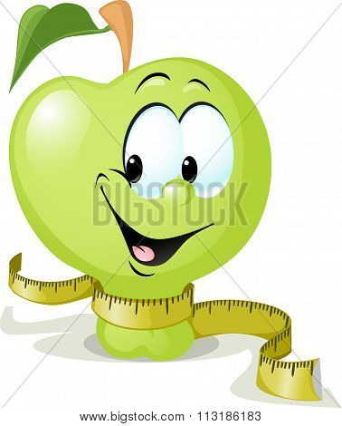 Cute Vector Apple Smiling With Tape Measure - Vector Illustration Isolated On White Background