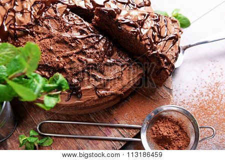 Sliced chocolate pie with mint and sieve on cutting board