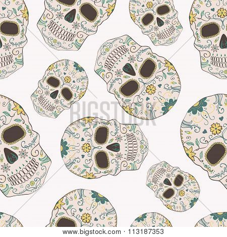 Vector Seamless Pattern With Day Of The Dead Skulls