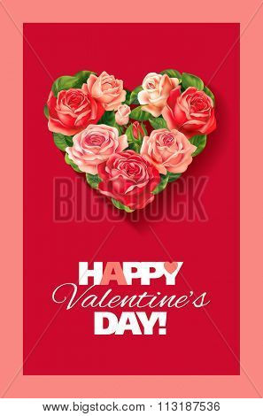 Valentine card with heart of roses. Vector illustration.