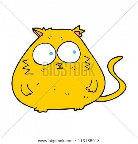 freehand drawn cartoon fat cat