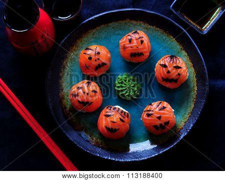 Halloween party sushi, Temari sushi, sushi balls