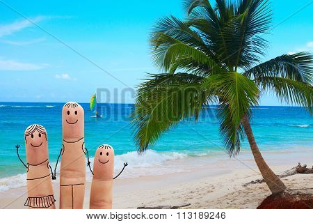 Happy Family On The Beach. Exotic Vacation