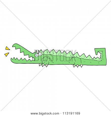 freehand drawn cartoon crocodile