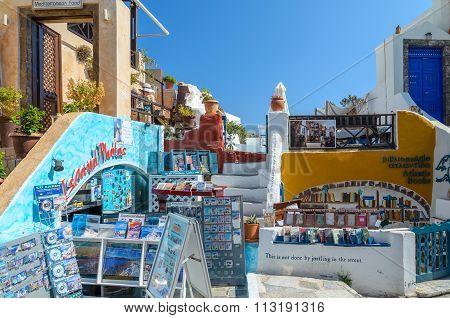 Traditional Santorini's buildings and souvenir shop