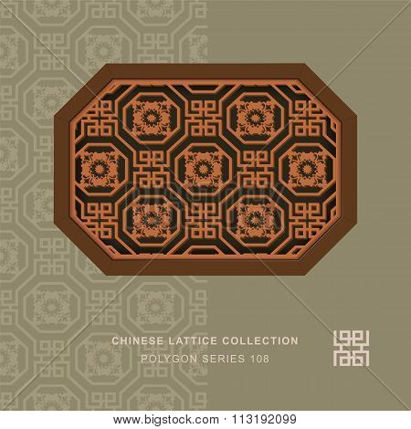 Chinese window tracery polygon frame 108 octagon flower