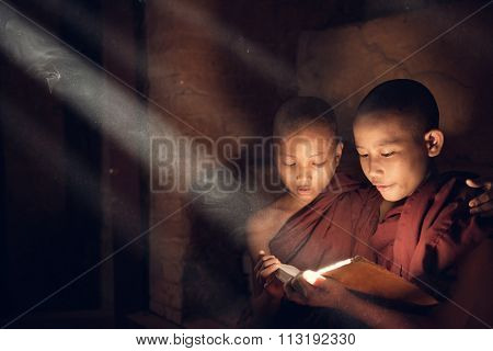 Southeast Asian novice monk reading book inside monastery, beautiful natural light shining thru.