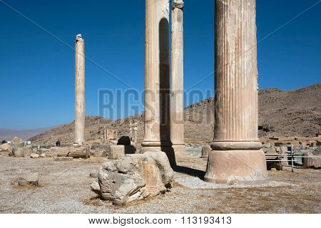 Ruined City And Columns Of Palace In Persepolis, Achaemenid Empire, 550 - 330 Bc