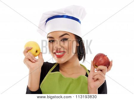 Woman Chef Holding Apples