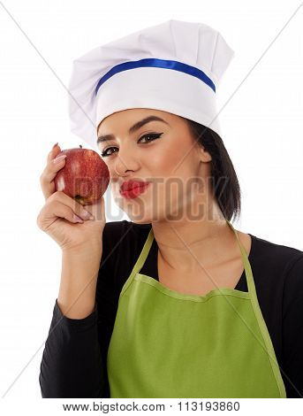 Woman Chef Eating Red Apple