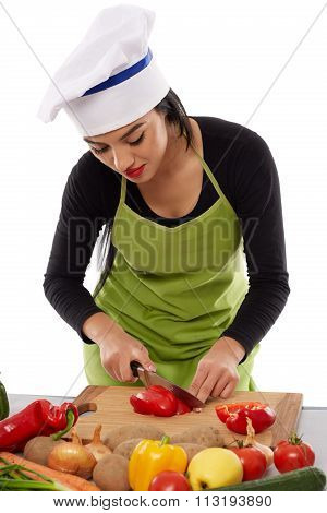 Woman Chef Chopping Vegetables
