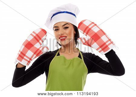 Woman Wearing Oven Gloves