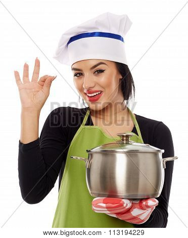 Woman Chef Making Ok Sign