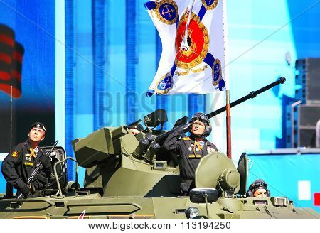 MOSCOW - MAI 7:  Russian self-propelled weapon sustems in solemn march on Red Square -  on Mai 7, 2015 in Moscow
