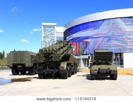 MOSCOW REGION  - JUNE 18:  Multi launch rocket system with on the vehicle chassis at the exhibition -  on June 18, 2015 in Moscow region